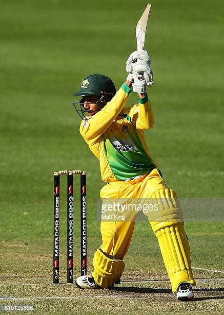 Arjun Nair of CA XI bats during the Matador BBQs One Day Cup match between the Cricket Australia XI and Western Australia at Hurstville Oval on...