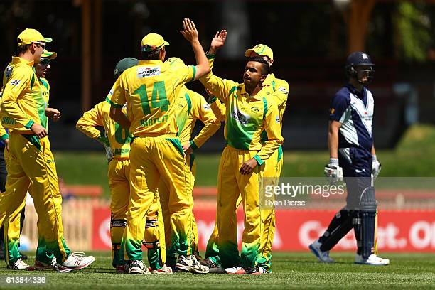 Arjun Nair of CA XI celebrates after taking the wicket of Daniel Christian of the Bushrangers during the Matador BBQs One Day Cup match between...