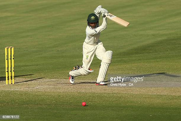Arjun Nair of Cricket Australia XI bats during the tour match between Cricket Australia XI and Pakistan at Cazaly's Stadium on December 10 2016 in...