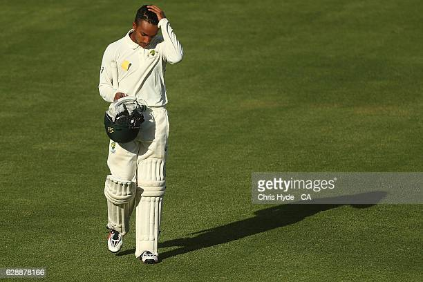 Arjun Nair of Cricket Australia XI leaves the field after being dismissed during the tour match between Cricket Australia XI and Pakistan at Cazaly's...