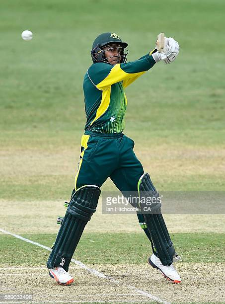 Arjun Nair of the National Performance Squad bats during the One Day match between South Africa A and the NPS at Tony Ireland Stadium on August 13...