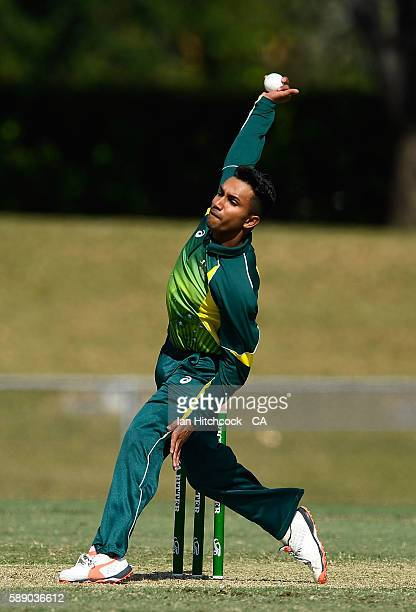 Arjun Nair of the National Performance Squad bowls during the One Day match between South Africa A and the NPS at Tony Ireland Stadium on August 13...