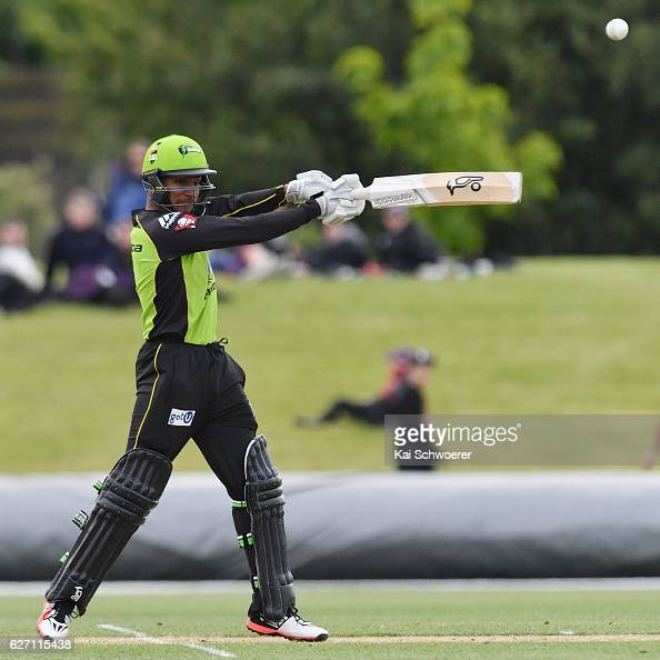 Arjun Nair of the Thunder batting during the T20 practice match between Canterbury Kings and Sydney Thunder at Hagley Oval on December 2 2016 in...