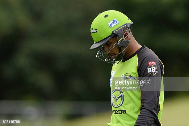 Arjun Nair of the Thunder looks dejected after being dismissed by Kyle Jamieson of the Kings during the T20 practice match between Canterbury Kings...