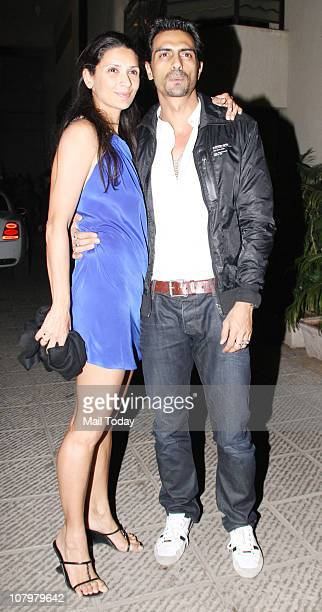 Arjun Rampal with wife Mehr at the birthday party of actor Hrithik Roshan