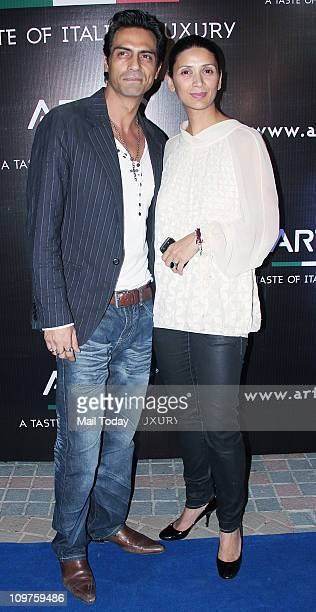Arjun Rampal with wife Mehr Rampal at the launch of 'The Artic' vodka at Trilogy Mumbai on March 3 2011