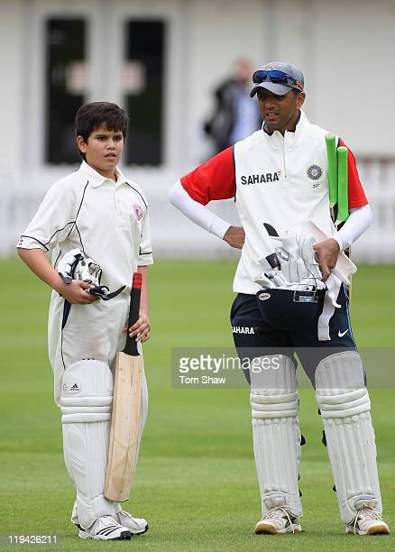 Arjun Tendulkar son of Sachin Tendulkar has a chat with Rahul Dravid of India during the India nets session at Lord's Cricket Ground on July 20 2011...