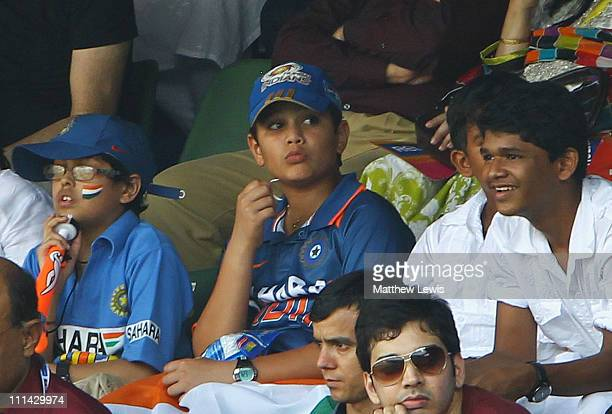 Arjun Tendulkar son of Sachin Tendulkar watches from the stands during the 2011 ICC World Cup Final between India and Sri Lanka at the Wankhede...