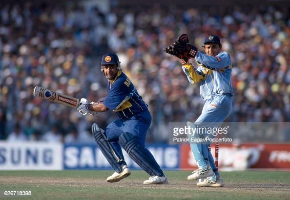 Arjuna Ranatunga batting for Sri Lanka during the World Cup Semi Final between India and Sri Lanka at Eden Gardens Calcutta India 13th March 1996 The...
