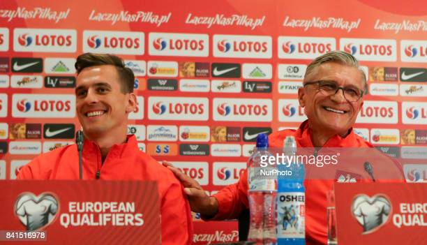 Arkadiusz Milik and Adam Nawalka during press conference before FIFA World Cup 2018 qualifier MD1 between Denmark and Poland at Parken Stadium in...