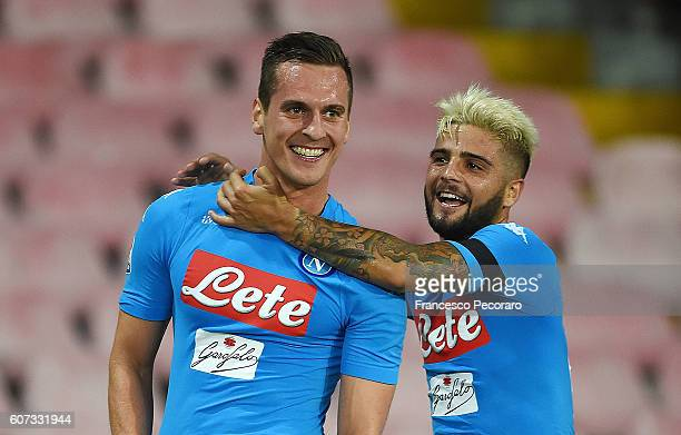 Arkadiusz Milik and Lorenzo Insigne of Napoli celebrate a goal 21 scored by Arkadiusz Milik during the Serie A match between SSC Napoli and Bologna...
