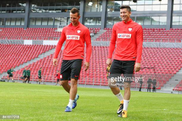Arkadiusz Milik and Robert Lewandowski of the Polish national football team take part in a trainig session on the eve of their FIFA World Cup 2018...