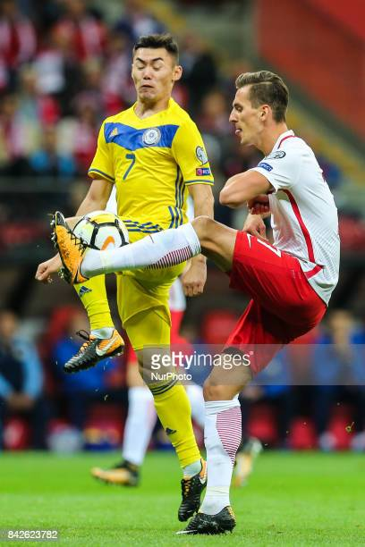 Arkadiusz Milik Aslan Barabaev during the FIFA World Cup 2018 qualification match between Poland and Kazakhstan in Warsaw on September 4 2017