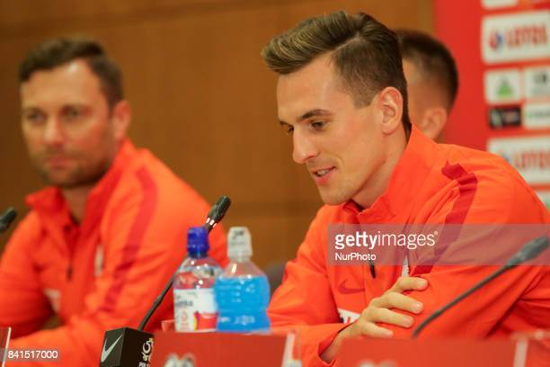 Arkadiusz Milik during press conference before FIFA World Cup 2018 qualifier MD1 between Denmark and Poland at Parken Stadium in Copenhagen Denmark...