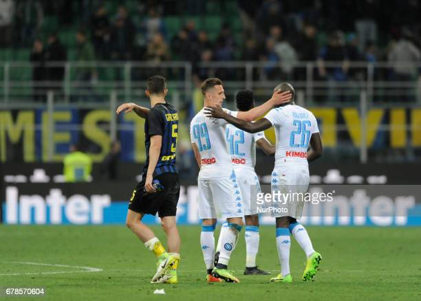 Arkadiusz Milik Kalidou Koulibaly of Napoli player and Roberto Gagliardini of Inter player during the Serie A match between FC Internazionale and SSC...