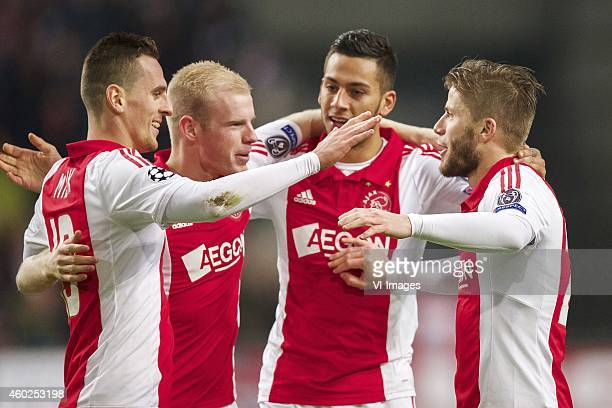 Arkadiusz Milik of Ajax Davy Klaassen of Ajax Ricardo Kishna of Ajax Lasse Schone of Ajax during the UEFA Champions League group F match between Ajax...