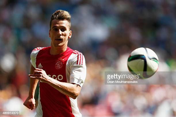 Arkadiusz Milik of Ajax in action during the Dutch Eredivisie match between Ajax Amsterdam and ADO Den Hagg on August 30 2015 in Amsterdam Netherlands