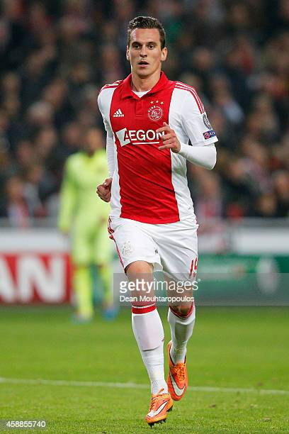 Arkadiusz Milik of Ajax runs for the ball during the UEFA Champions League Group F match between AFC Ajax and FC Barcelona at The Amsterdam Arena on...