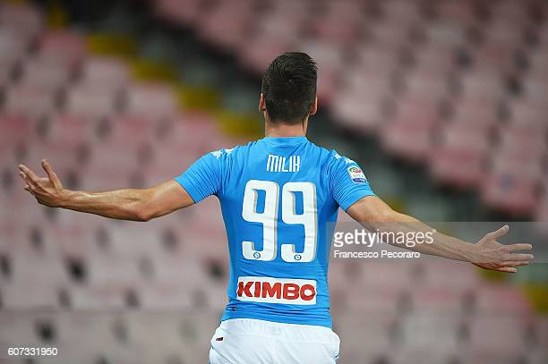 Arkadiusz Milik of Napoli celebrates after scoring goal 21 during the Serie A match between SSC Napoli and Bologna FC at Stadio San Paolo on...