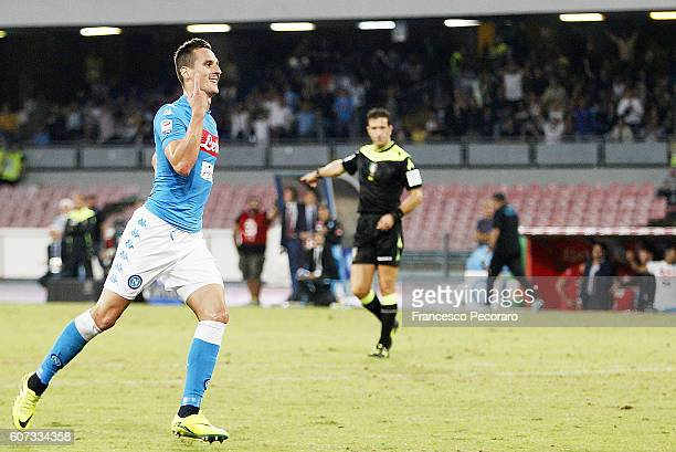 Arkadiusz Milik of Napoli celebrates after scoring goal 31 during the Serie A match between SSC Napoli and Bologna FC at Stadio San Paolo on...