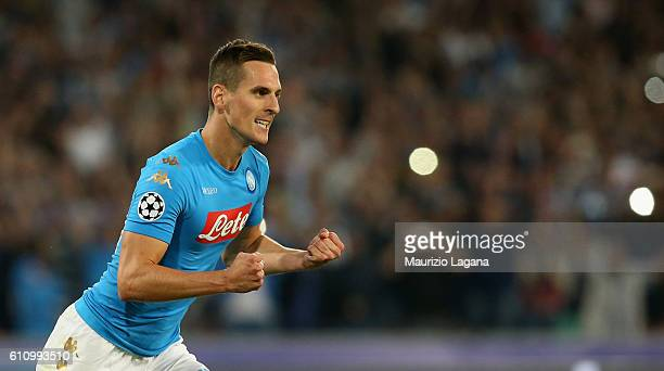 Arkadiusz Milik of Napoli celebrates after scoring his team's third goal during the UEFA Champions League match between SSC Napoli and Benfica at...