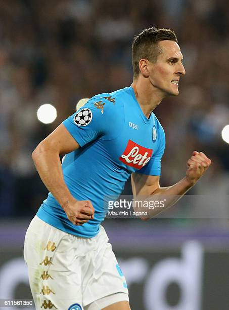 Arkadiusz Milik of Napoli celebrates the second goal during the UEFA Champions League match between SSC Napoli and Benfica at Stadio San Paolo on...
