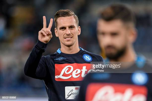 Arkadiusz Milik of Napoli during the Serie A match between Lazio and Napoli at Olympic Stadium Roma Italy on 20 September 2017