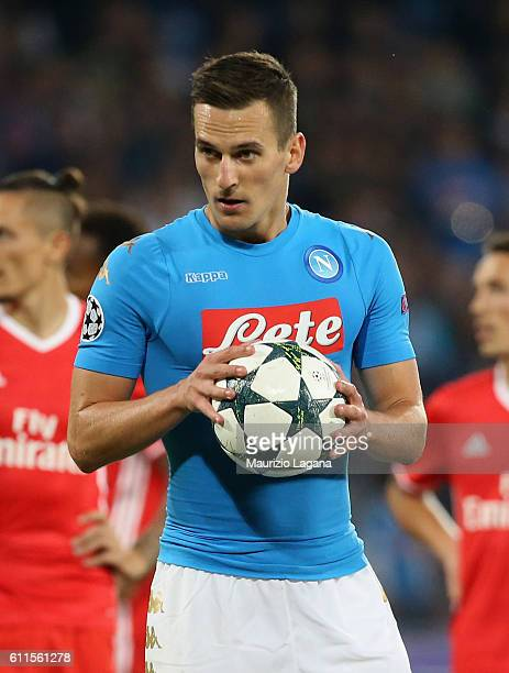 Arkadiusz Milik of Napoli during the UEFA Champions League match between SSC Napoli and Benfica at Stadio San Paolo on September 28 2016 in Naples