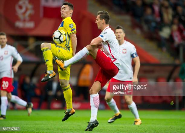Arkadiusz Milik of Poland during the FIFA World Cup 2018 Qualifying Round match between Poland and Kazakhstan at National Stadium in Warsaw Poland on...