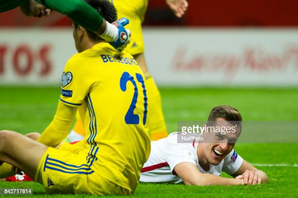 Arkadiusz Milik of Poland looks on during the FIFA World Cup 2018 Qualifying Round match between Poland and Kazakhstan at National Stadium in Warsaw...
