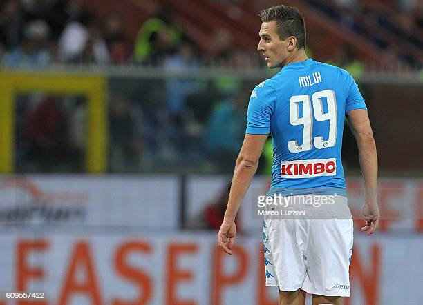 Arkadiusz Milik of SSC Napoli looks on during the Serie A match between Genoa CFC and SSC Napoli at Stadio Luigi Ferraris on September 21 2016 in...