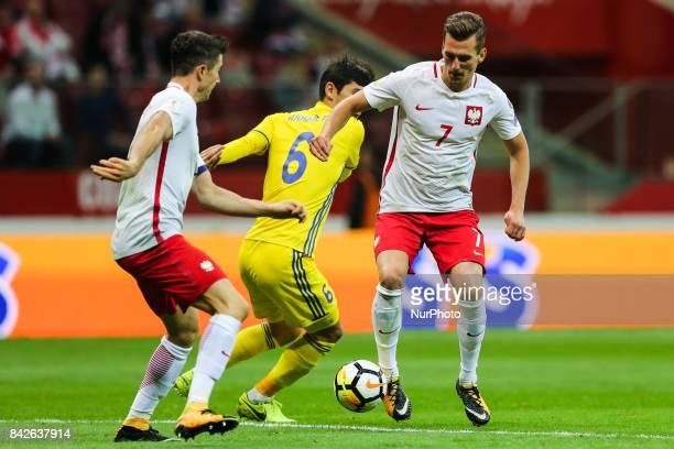 Arkadiusz Milik Robert Lewandowski Yeldos Akhmetov during the FIFA World Cup 2018 qualification match between Poland and Kazakhstan in Warsaw on...