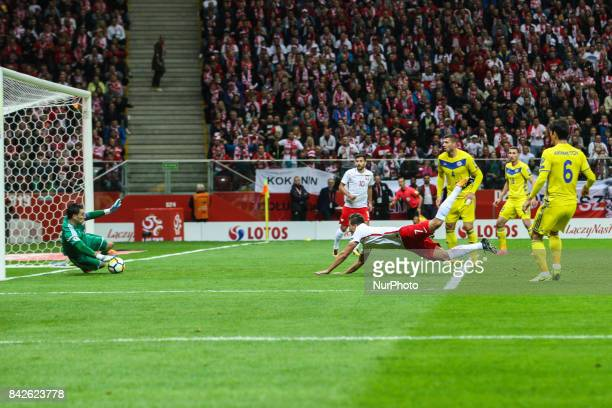 Arkadiusz Milik score a goal during the FIFA World Cup 2018 qualification match between Poland and Kazakhstan in Warsaw on September 4 2017