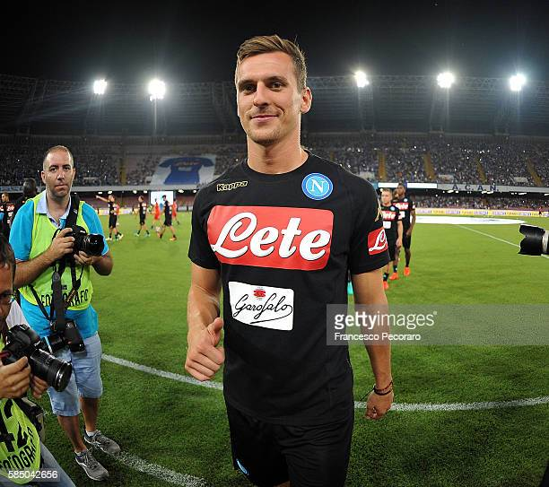 Arkadiusz Milik smiles during the preseason friendly match between SSC Napoli and OGC Nice at Stadio San Paolo on August 1 2016 in Naples Italy