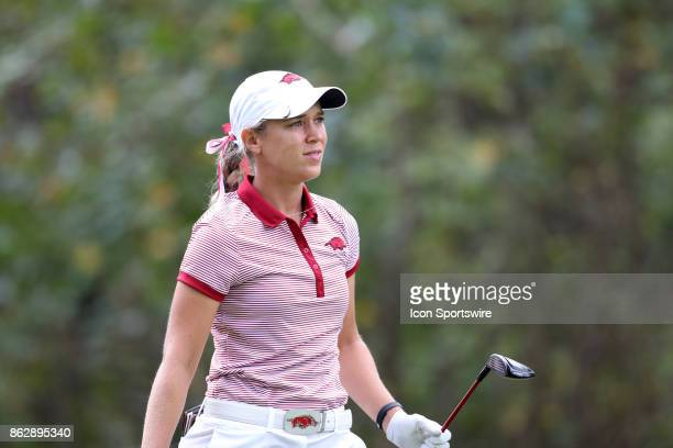 Arkansas' Cara Gorlei on the 11th tee during the third and final round of the Ruth's Chris Tar Heel Invitational Women's Golf Tournament on October...