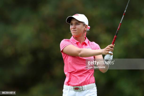 Arkansas' Cara Gorlei on the 3rd tee during the first round of the Ruth's Chris Tar Heel Invitational Women's Golf Tournament on October 13 at the...