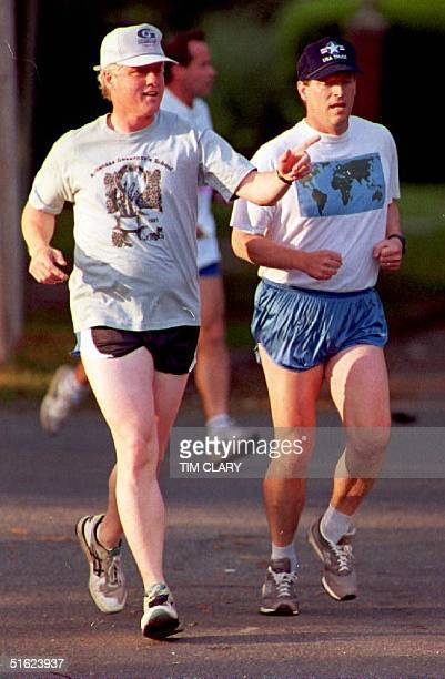 Arkansas Democratic Presidential Candidate Gov Bill Clinton takes an early morning jog with his new vicepresidential candidate Sen Albert Gore of...