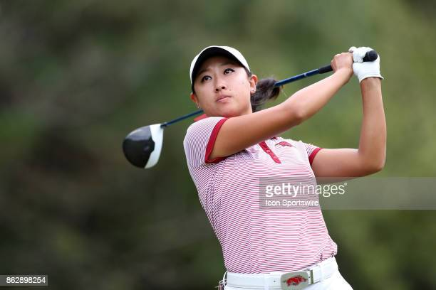 Arkansas' Dylan Kim on the 13th tee during the third and final round of the Ruth's Chris Tar Heel Invitational Women's Golf Tournament on October 15...