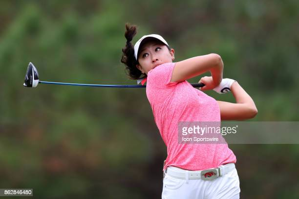 Arkansas' Dylan Kim on the 4th tee during the first round of the Ruth's Chris Tar Heel Invitational Women's Golf Tournament on October 13 at the UNC...