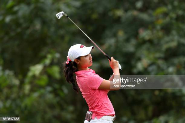 Arkansas' Dylan Kim on the 5th tee during the first round of the Ruth's Chris Tar Heel Invitational Women's Golf Tournament on October 13 at the UNC...