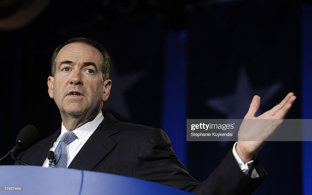 Arkansas Governor and 2008 Republican Presidential Candidate Mike Huckabee speaks at the Washington Briefing / Values Voter Summit, an evangelical Christian conference, October 20, 2007 in Washington, DC. Conservative Christians spent the weekend listening to conservative speakers and GOP presidential candidates, then voting in a presidential straw poll, which is thought to determine who the powerful voter bloc will back in 2008.