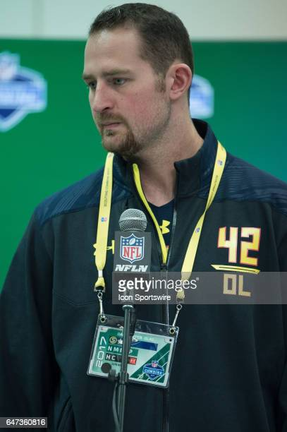 Arkansas offensive lineman Dan Skipper answers questions from the podium during the NFL Scouting Combine on March 2 2017 at Lucas Oil Stadium in...