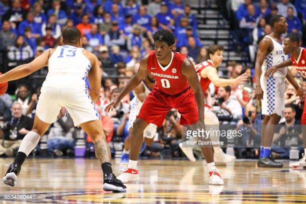Arkansas Razorbacks guard Jaylen Barford back on defense against Kentucky Wildcats guard Isaiah Briscoe during the first half of the Southeastern...