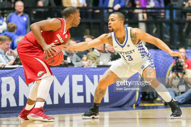 Arkansas Razorbacks guard Manuale Watkins posts up against Kentucky Wildcats guard Isaiah Briscoe during the first half of the Southeastern...