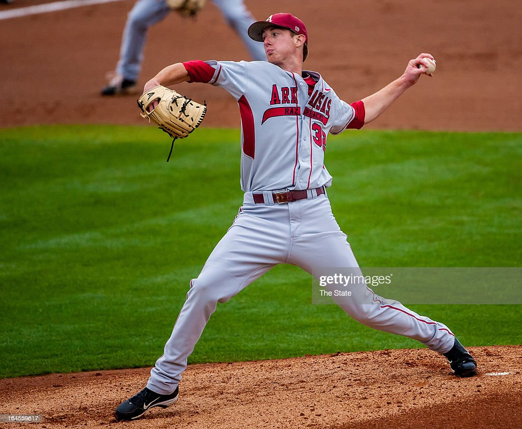Arkansas starter Randall Fant pitches in the first inning against South Carolina in Columbia, South Carolina, Sunday, March 24, 2013.