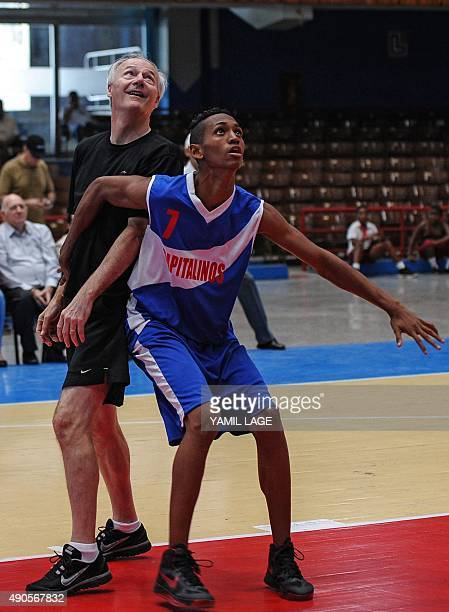 US Arkansas state governor Asa Hutchinson takes part in a basketball game with a Cuban team on September 29 in Havana Asa Hutchinson of Arkansas...