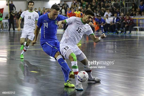 Arlan Pablo Vieira of Italy futsal battles for the ball with Farhad Tavakoli Roozbahani Dazaj of Iran futsal during the International Futsal friendly...