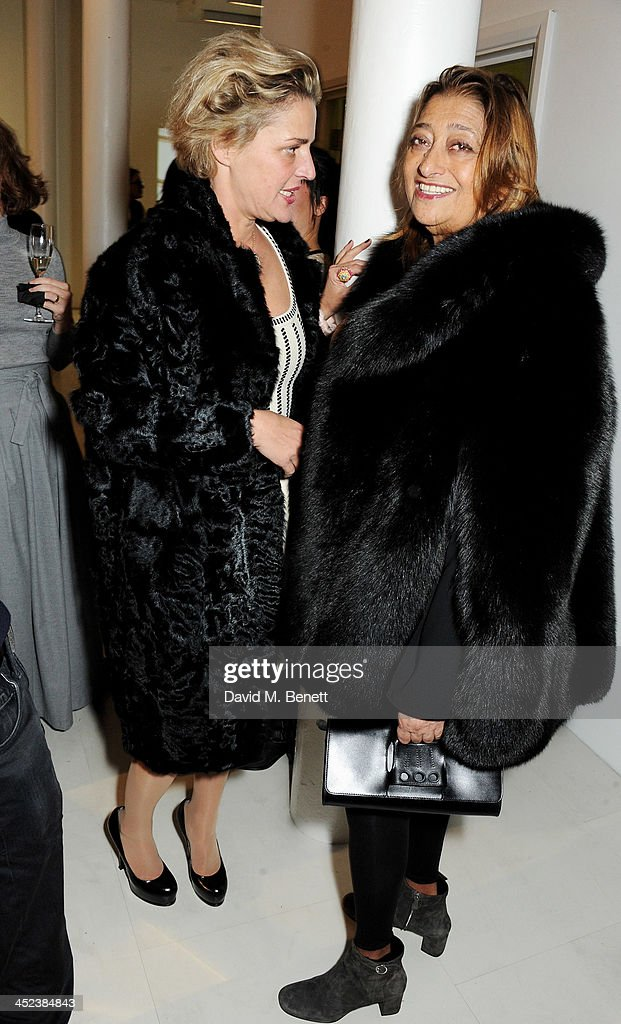 Arlene Bonnant (L) and <a gi-track='captionPersonalityLinkClicked' href=/galleries/search?phrase=Zaha+Hadid&family=editorial&specificpeople=560782 ng-click='$event.stopPropagation()'>Zaha Hadid</a> attend the <a gi-track='captionPersonalityLinkClicked' href=/galleries/search?phrase=Zaha+Hadid&family=editorial&specificpeople=560782 ng-click='$event.stopPropagation()'>Zaha Hadid</a> for Caspita pop-up store launch event on November 28, 2013 in London, England.