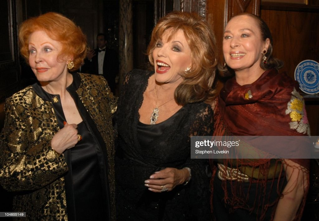 Arlene Dahl, Joan Collins, and Rita Gam during Official 2003 Academy of Motion Picture Arts and Sciences Oscar Night Party at Le Cirque 2000 at Le Cirque 2000 in New York, NY, United States.
