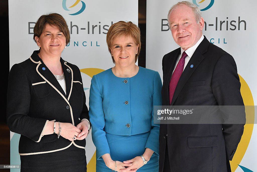 Arlene Foster First Minister Northern Ireland executive and Martin McGuinness deputy First Minister meet Nicola Sturgeon the First Minister of...